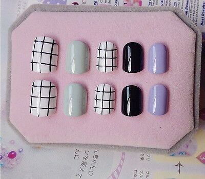 CP-124 Japanese Style 24 Pcs Set Cartoon Nail Tips Press-On Fake Nails*