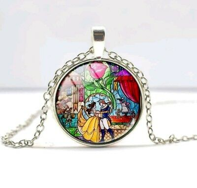 Beauty And The Beast Necklace Disney Inspired Stain Glass Pendant Silver