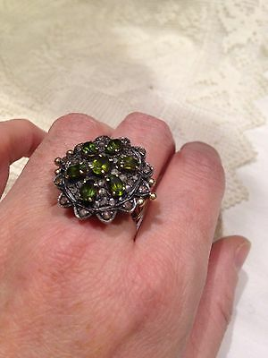 Antique Vintage Genuine Peridot Real Rose Cut Diamond 14k Gold Ring