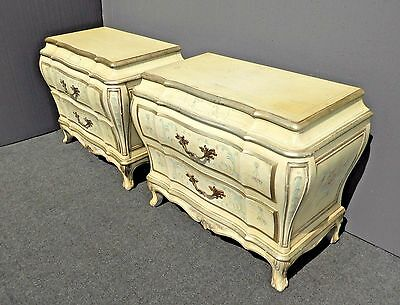 Pair Bombay BOMBE KARGES French Provincial Ornate NIGHTSTANDS Hand Paint French