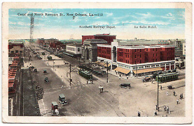 AK US USA Post Card Canal a. North Rampart St. NEW ORLEANS gel. 1930