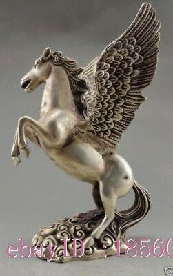 Chinese Handwork Tibet Silver Carved Big Horse Flying Statue