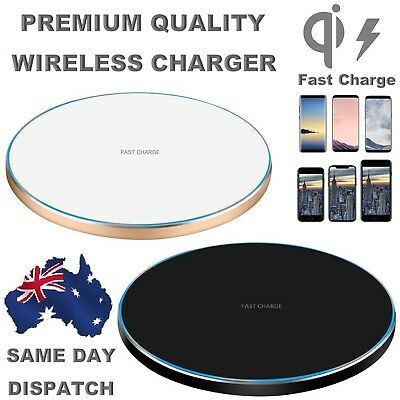 NEW Wireless Charger Qi FAST Charge iPhone X 10 8 Plus Note 8 S8 PREMIUM QUALITY