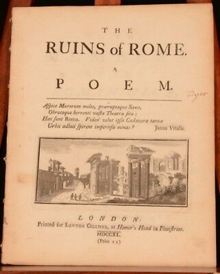 1740 The Ruins of Rome A Poem John Dyer Decorative Very Scarce First Edition