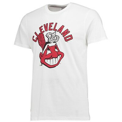 Adults Small Cleveland Indians New Era Coop Script T-Shirt M16