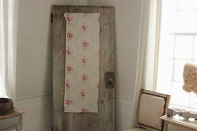 Antique vintage   French printed cotton  faded roses shabby chic