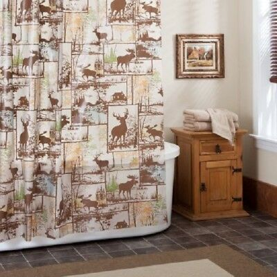 Cabin Lodge Wildlife Forest Shower Curtain 70 X 72 Peva Modern Rustic