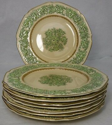 "CROWN DUCAL china FLORENTINE GREEN crd102 pattern DINNER PLATE 10"" Set of 8"