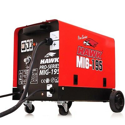 Hawk 195 Gas No Gasless Flux Solid Wire Feed Mig Weld Welder Welding Machine