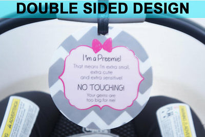 No touching Preemie Baby Car Seat Plastic Double Sided Sign - Do not touch tag