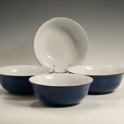 "Denby Imperial Blue 4 Four Fruit Saucers  (5 3/4"") Small Bowls"