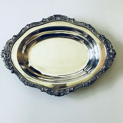 BAROQUE By Wallace Silverplate Serving Oval Bowl - Baroque Silver Plate Bowl