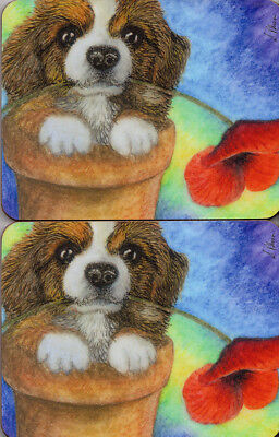 2 x dog coasters Welsh Pembroke Corgi pup poppy flower mug mats by Susan Alison