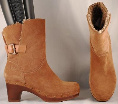 arriving separation shoes new lifestyle WOMEN'S UGG BROWN Suede Leather Shearling Lined Mid Calf ...