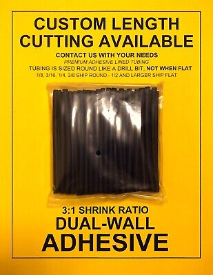 "1/4"" / 6mm I.D Black (6"" 25pcs) Dual-Wall Adhesive Lined 3:1 Heat Shrink Tubing"