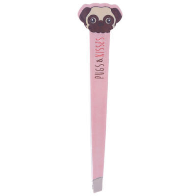 Pug Dog Eyebrow Shape Metal Tweezers Blue & Pink Pug's & Dreams Tweezers
