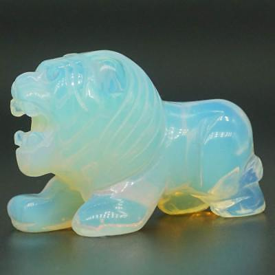 "2"" Lion Figurine Opalite Carved Gemstone Animal Totem Statue Stone Sculpture"