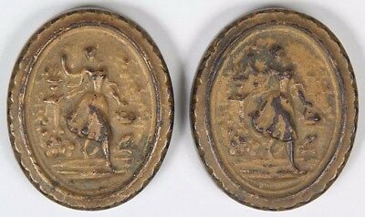 Pair Vintage Cast Iron Victorian Paper/Desk Weights Young Woman w/ Basket
