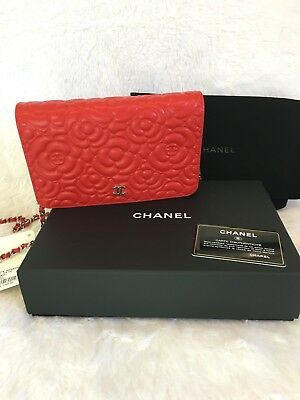 433a2bc3643f AUTHENTIC CHANEL RED Lambskin Camellia Wallet on Chain WOC Silver ...