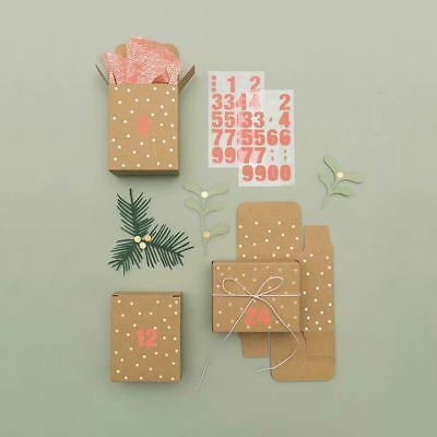 Advent Mini Boxes Kraft Brown Gold Stars Pack of 24 Create Your Own Calendar