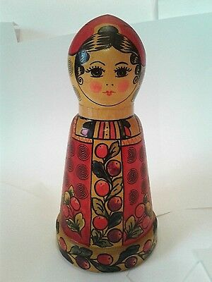 "Excellent Authentic Russian Wood Doll 9"" BERIOZKA with Original Tags Dated 1988"