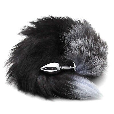 New Funny Love Real Fox Tail Anal Butt Plug Insert Stainless Sex Toy Adult Tool