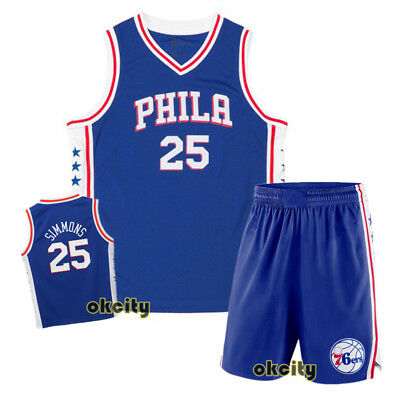 Top & Shorts Ben Simmons 25 Philadelphia Sixers 76ers NBA Youth Child Kid Jersey