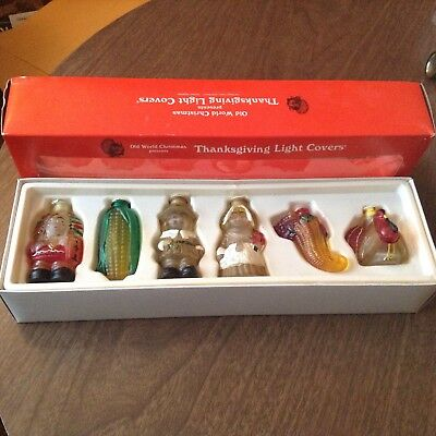 Old World Glass Thanksgiving Light Covers Boxed Set Of 6