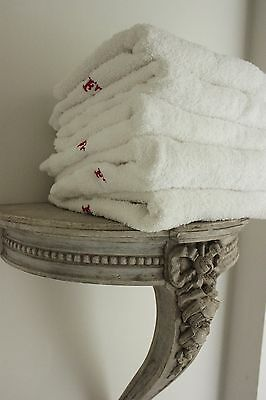 Vintage French1900's terry cloth 1 toweling towels French F hand face white ONE