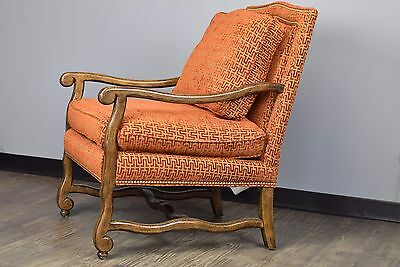 Hancock & Moore Red & Gold Wooden Arm Chair - Mint Condition - NORTH TEXAS