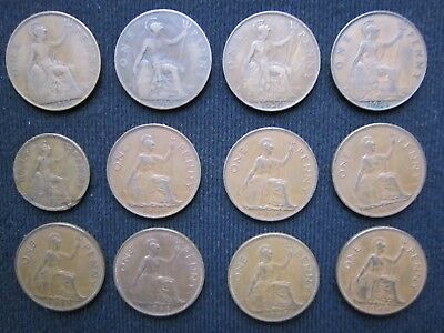 Lot de 12 monnaies:Royaume-Uni: one penny 1915-17-20-21-38(x3)-40-46-47-48 / + 1