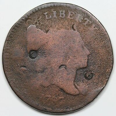 1797 Liberty Cap Half Cent, 1 above 1, G detail