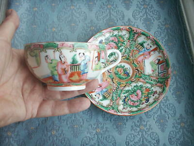 Old Antique Chinese Famille Rose Enamelled Tea Cup and Saucer China Export Ware