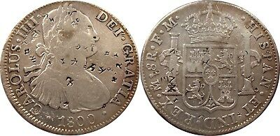 1800 SILVER Mexico City 8 Reales, heavy Chinese Chopmarks, LOVELY COIN!