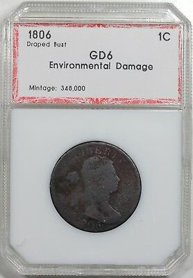 1806 Draped Bust Large Cent, PCI G+ detail