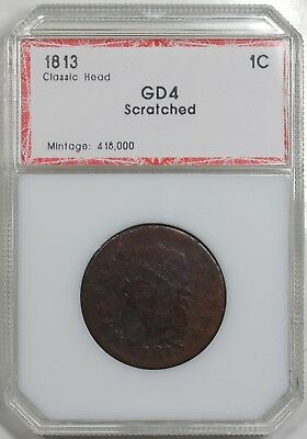1813 Classic Head Large Cent, PCI G detail