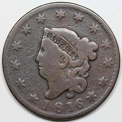 1816 Coronet Head Large Cent, G-VG detail