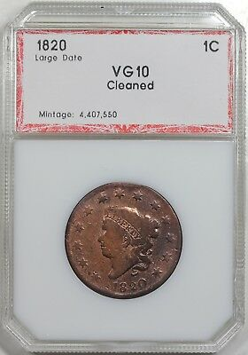 1820 Coronet Head Large Cent, Large Date, PCI VG+ detail
