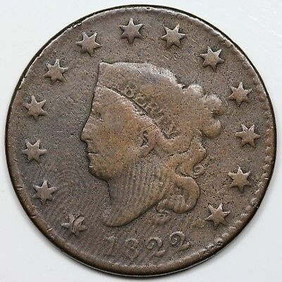 1822 Coronet Head Large Cent, VG detail