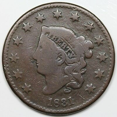 1831 Coronet Head Large Cent, Large Letters, VG detail