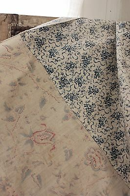 Blue antique French fabric printed cotton curtain w trim faded floral fabric old