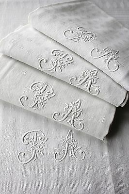 Damask linen French  napkin SET  4 PA monogrammed linen  22X25 c1910 white old