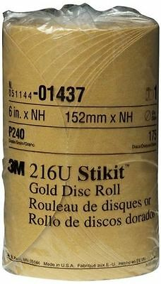 "new 3M 6"" Stikit 216U Gold P240 Grit Abrasive 175 Disc Roll 01437"