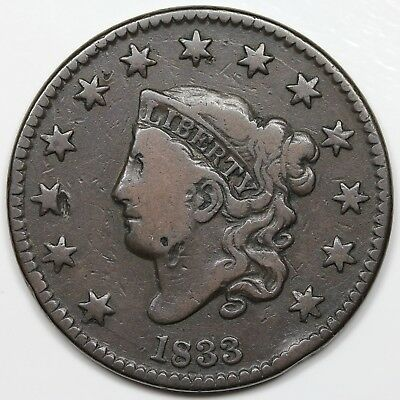1833 Coronet Head Large Cent, F+ detail