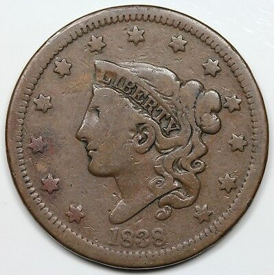 1838 Coronet Head Large Cent, VG+