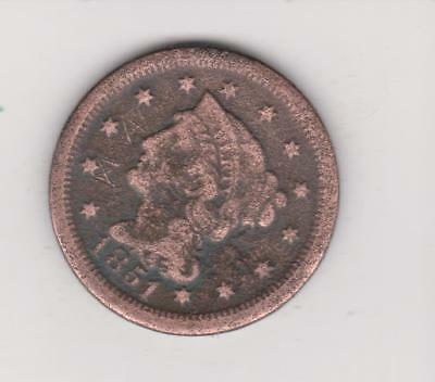 1851 Large Usa Penny-- Nice Detail Free Shipping