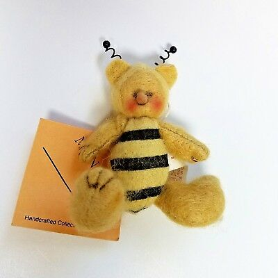 VTG Melissa Ann Miniature Felted Bumble Bee Honey Doll Jointed 3-1/2 in w/Tag