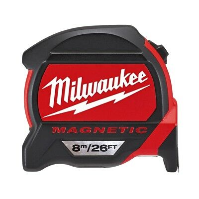 Milwaukee Premium Magnetic 8m/26ft Tape Measure & Free Keychain | 4932464178 / 4