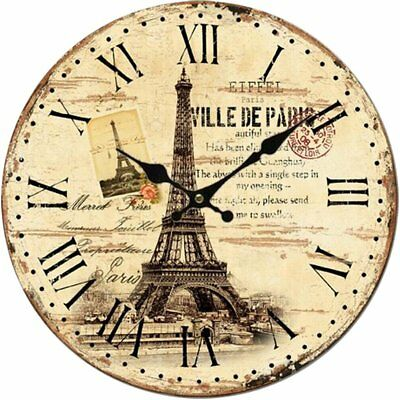 """12"""" Large Indoor/Outdoor Woden Decorative Vintage Wall Clock Paris Country Style"""