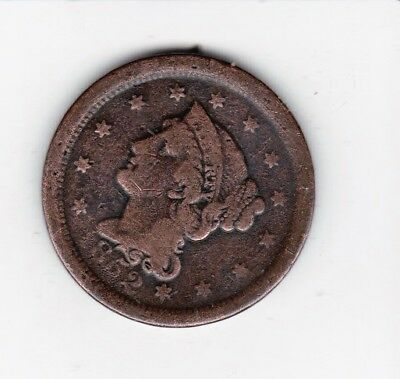 1852 Large Usa Penny-- Nice Detail/color Free Shipping